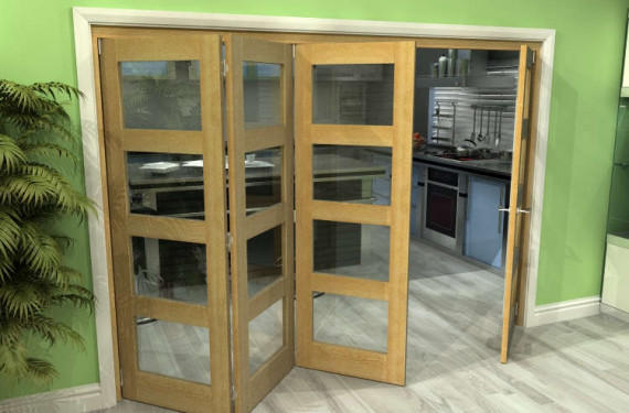 Glazed Oak 4 Door 4l Roomfold Grande (3 + 1 X 686mm Doors)