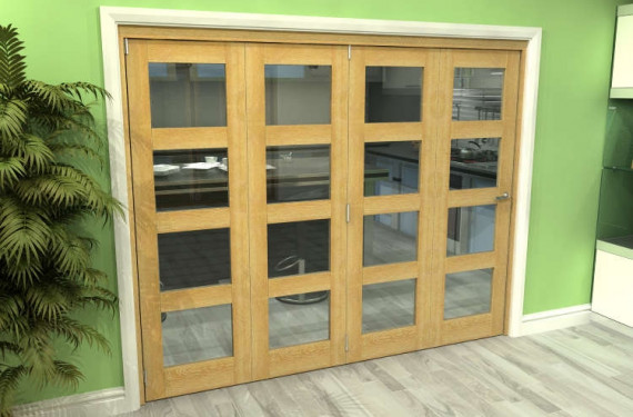 Glazed Oak 4 Door 4l Roomfold Grande (4 + 0 X 610mm Doors)