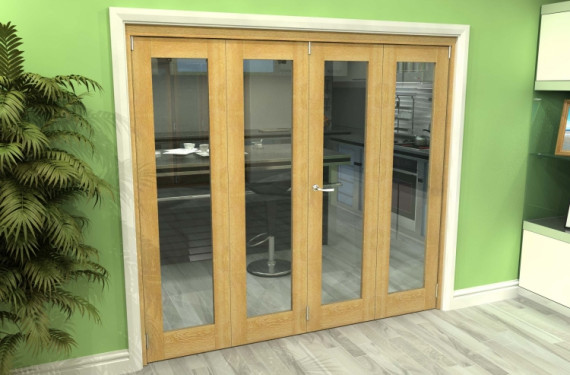 Glazed Oak 4 Door Roomfold Grande (2 + 2 X 533mm Doors)