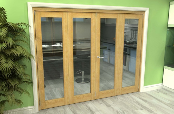 Glazed Oak 4 Door Roomfold Grande (2 + 2 X 686mm Doors)