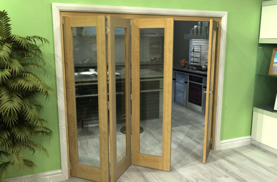 Glazed Oak 4 Door Roomfold Grande 2400mm (8ft) 3 + 1 Set