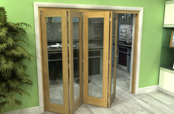 Glazed Oak 4 Door Roomfold Grande 2400mm (8ft) 4 + 0 Set