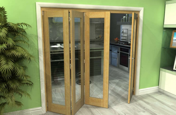 Glazed Oak 4 Door Roomfold Grande (3 + 1 X 533mm Doors)