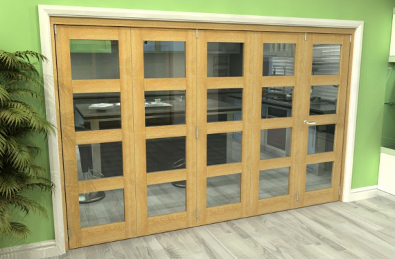 Glazed Oak 5 Door 4l Roomfold Grande (4 + 1 X 610mm Doors)