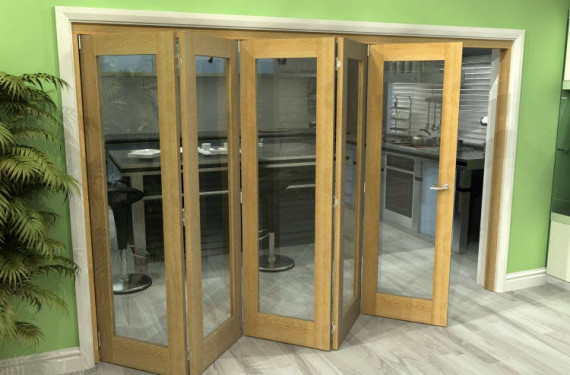 Glazed Oak 5 Door Roomfold Grande (5 + 0 X 762mm Doors)