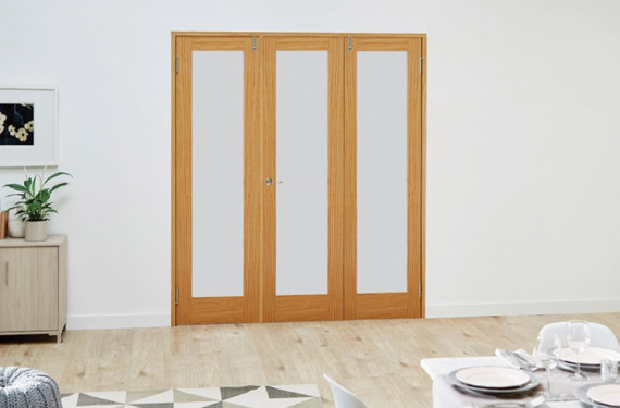 Glazed Oak Prefinished 3 Door Frosted Frenchfold 6ft (1800mm) Set