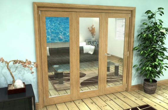 Glazed Oak Prefinished 3 Door Roomfold Grande (2 + 1 X 762mm Doors)