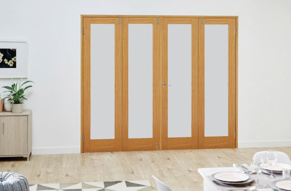 Glazed Oak Prefinished 4 Door Frosted Frenchfold 8ft (2374mm) Set