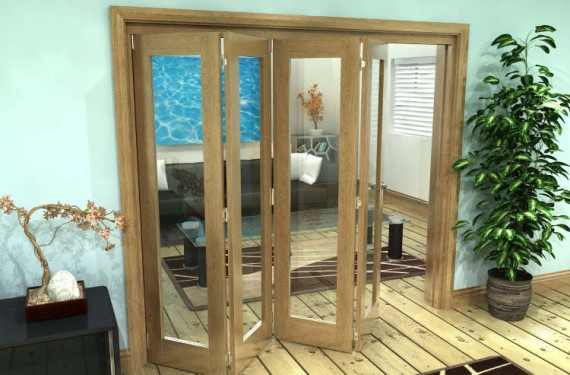 Glazed Oak Prefinished 4 Door Roomfold Grande (4 + 0 X 533mm Doors)