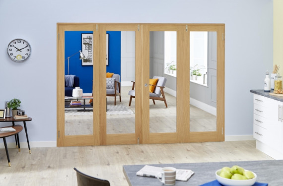 Glazed Oak Prefinished 4 Door Shaker Frenchfold (4 X 686mm Doors)