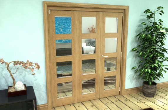 Glazed Oak Prefinished 4l Roomfold Grande 1800mm (6ft) 2 + 1 Set