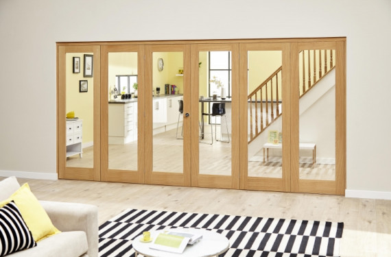 Glazed Oak Prefinished 6 Door Roomfold Deluxe (3+3 X 2'0