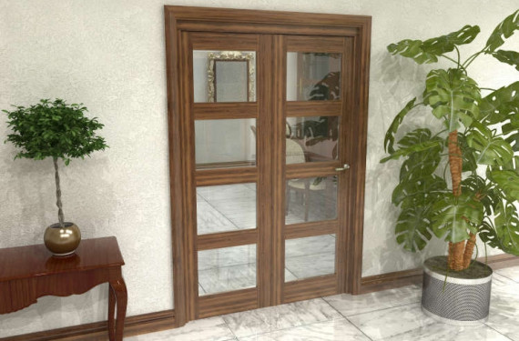 Glazed Walnut Prefinished 2 Door 4l Roomfold Grande (2 + 0 X 610mm Doors)