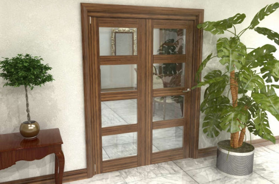 Glazed Walnut Prefinished 2 Door 4l Roomfold Grande (2 + 0 X 686mm Doors)