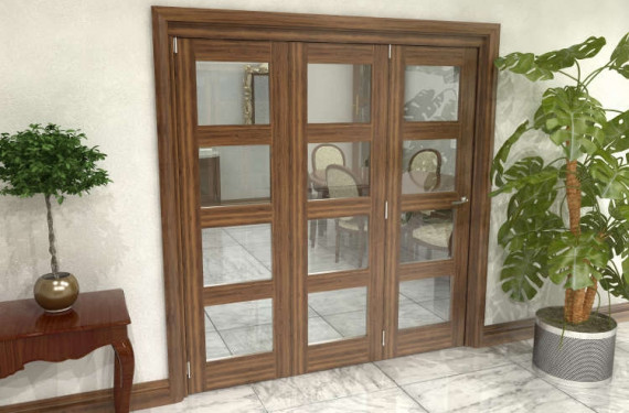 Glazed Walnut Prefinished 3 Door 4l Roomfold Grande (3 + 0 X 610mm Doors)