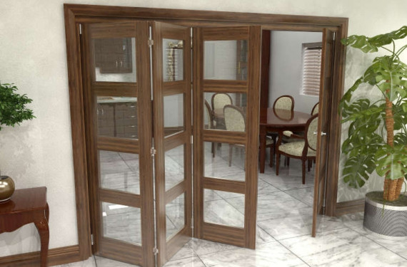 Glazed Walnut Prefinished 4 Door 4l Roomfold Grande 2400mm (8ft) 3 + 1 Set