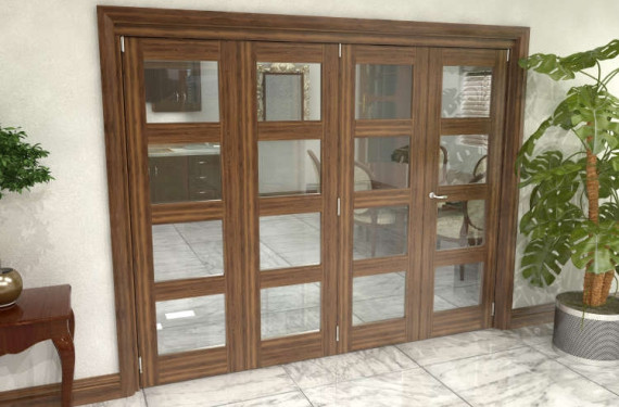 Glazed Walnut Prefinished 4 Door 4l Roomfold Grande (3 + 1 X 533mm Doors)
