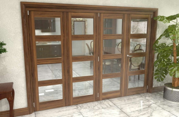 Glazed Walnut Prefinished 4 Door 4l Roomfold Grande (3 + 1 X 762mm Doors)