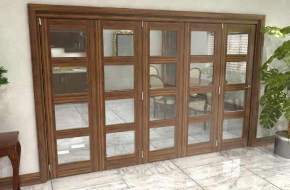 Glazed Walnut Prefinished 5 Door 4l Roomfold Grande (5 + 0 X 610mm Doors)