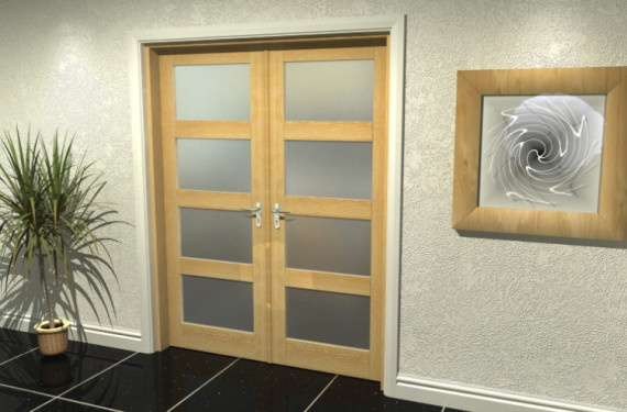 Prefinished 4l Frosted Oak French Door Set  - 24