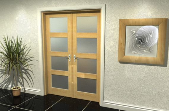 4l Frosted Oak French Door Set  - 24