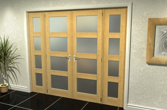 4l Frosted Oak French Door Set  - 22.5