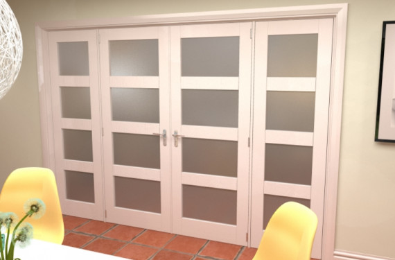 4l Frosted White French Door Set - 30