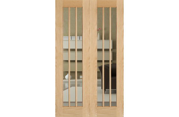 Lincoln Glazed Oak Rebated Pairs Door