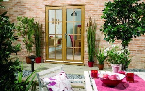 Oak French Doors - 8 Lite