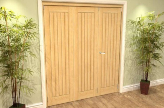 Mexicano Oak 3 Door Roomfold Grande (2 + 1 X 610mm Doors)