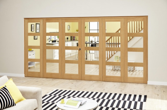 Oak 4l - 6 Door Roomfold Deluxe (3 + 3 X 686mm Doors)