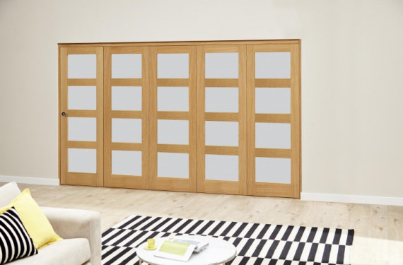 Oak 4l Shaker Glazed Roomfold Deluxe (5 X 610mm Doors)
