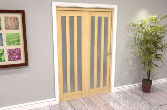Oak Aston Frosted Glazed 2 Door Roomfold Grande (2 + 0 X 610mm Doors)