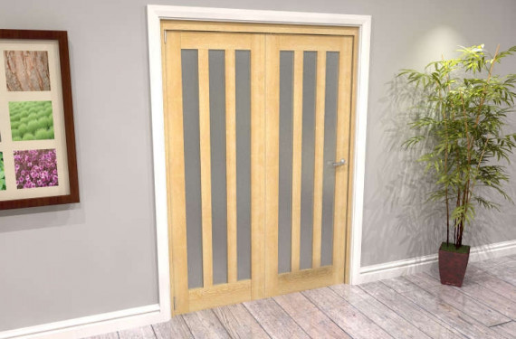 Oak Aston Frosted Glazed 2 Door Roomfold Grande (2 + 0 X 686mm Doors)
