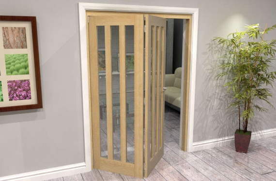 Oak Aston Glazed 2 Door Roomfold Grande (2 + 0 X 686mm Doors)