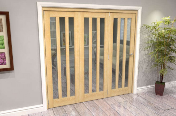 Oak Aston Glazed 3 Door Roomfold Grande (3 + 0 X 686mm Doors)