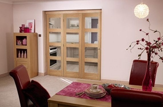 Oak Prefinished 4 Light Bifold Door ( 3 X 2'3