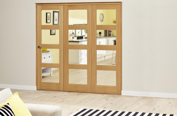 Oak Prefinished 4l Roomfold Deluxe ( 3 X 610mm Doors)