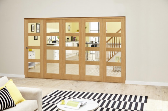 Oak Prefinished 4l Roomfold Deluxe ( 5 X 610mm Doors)