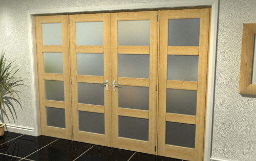 Oak Unfinished Shaker 4l Frosted Room Divider Range