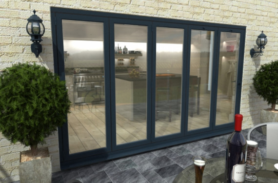 Part Q 4200mm ( 5 + 0 ) Grey Aluminium Bifold Doors - Climadoor