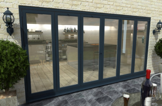 Part Q 4800mm ( 3 + 3 ) Grey Aluminium Bifold Doors - Climadoor