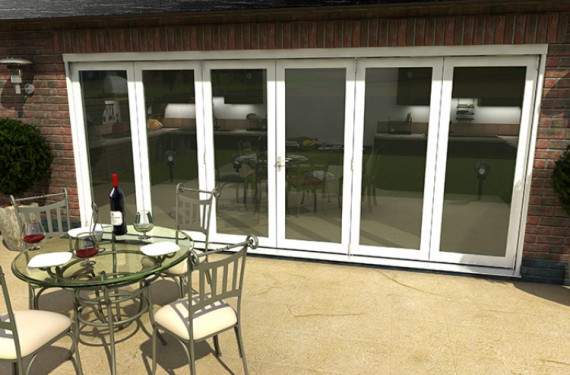Part Q 4800mm ( 3 + 3 ) White Aluminium Bifold Doors - Climadoor