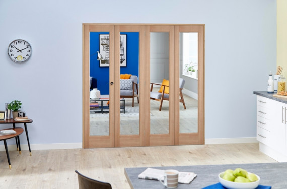 Slimline Glazed Oak 4 Door Roomfold Deluxe ( 4 X 457mm Doors )