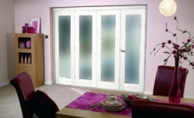 White Bifold 4 Door System (2400mm - 8ft) Frosted Image