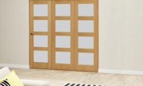Oak 4l Shaker Glazed Roomfold Deluxe 3 Door 1794mm X 2078mm ( 1800mm Set ) Image