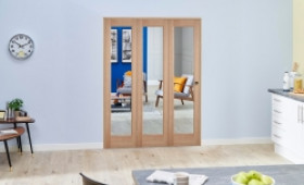 Slimline Glazed Oak 3 Door Roomfold Deluxe ( 3 X 419mm Doors ) Image