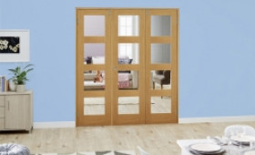 Clear Glazed Oak Unfinished 4l 3 Door Shaker Frenchfold (3 X 1
