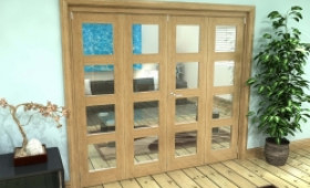 Glazed Oak Prefinished 4 Door 4l Roomfold Grande (2 + 2 X 686mm Doors) Image