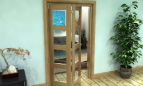 Glazed Oak Prefinished 2 Door 4l Roomfold Grande (2 + 0 X 533mm Doors) Image